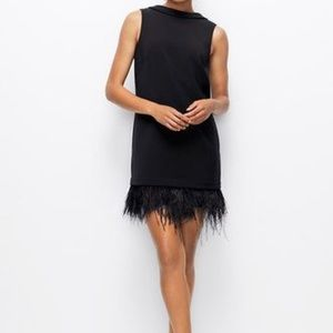 Ann Taylor Feather Trimmed Cocktail Dress